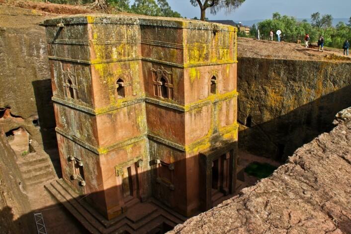 En kirke fra 1200- eller 1300-tallet i Lalibela i Etiopia. Her ble kristendommen etablert allerede i det fjerde århundre etter Kristus.  (Foto: Colourbox)