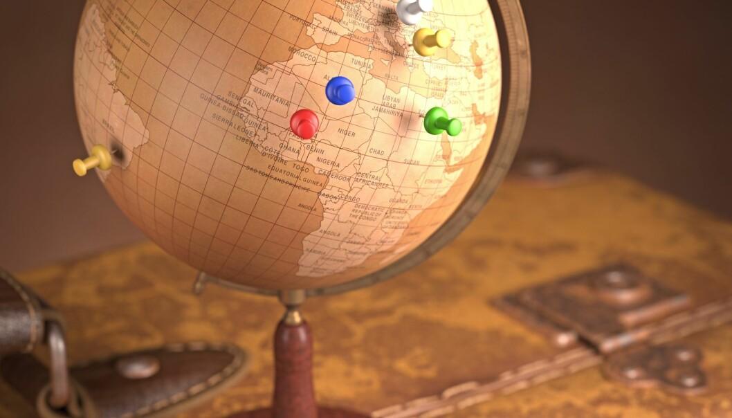 Jordas masse er ikke jevnt fordelt – det er en forenkling man bruker i undervisningssammenheng, forklarer professor Ulrik Uggerhøj.  (illustrasjon: Kristian Secher, Videnskab.dk)
