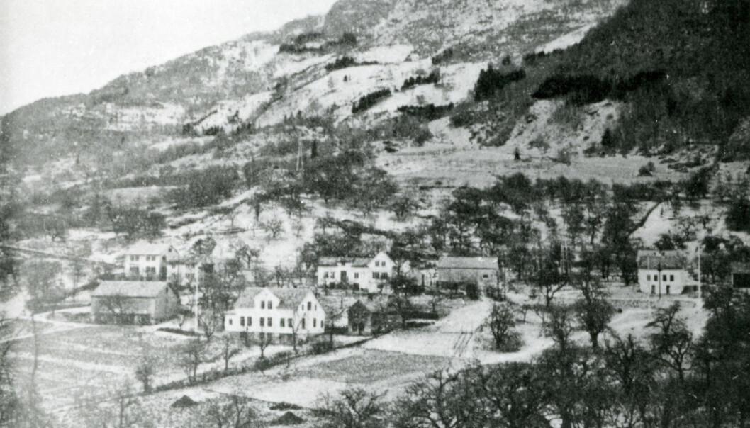 Klyngetunet på gården Opedal i Ullensvang var et av de største i hele landet før oppsplittinga etter jordskiftereformen. Bildet viser tunet før utskifting.  (Foto: Hardanger og Voss Folkemuseum)