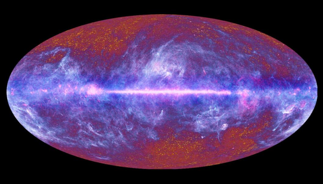 Det unge universet bestod nesten bare av hydrogen. Dette hydrogenet glødet, og denne gløden kan vi fortsatt se som radiobølger i den kosmiske bakgrunnsstrålingen, her observert fra romobservatoriet Planck. (Bilde: ESA/Planck Collaboration)