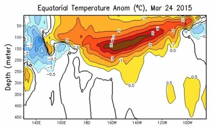 Mye varmt vann under ekvatorbeltet i Stillehavet nå. (Bilde: NOAA)