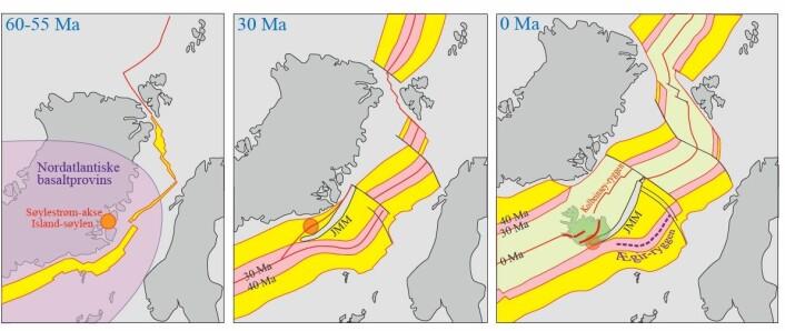 Illustrasjonen viser hvordan kontinentbiten løsnet fra Grønland, og startet sin reise ut i Atlanterhavet. Det første kartet er for 60 til 55 millioner år siden. Kontinentet kalles for Jan Mayen-mikrokontinentet (JMM på bildet). (Foto: (Illustrasjon: Reidar Trønnes))