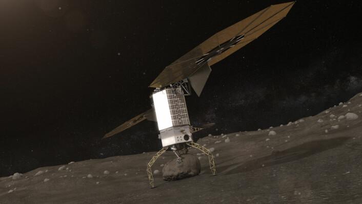 En robotarm henter opp en sten fra overflaten av en asteroide, som en del av NASAs Asteroid Redirect Mission. (Foto: (Illustrasjon: NASA))