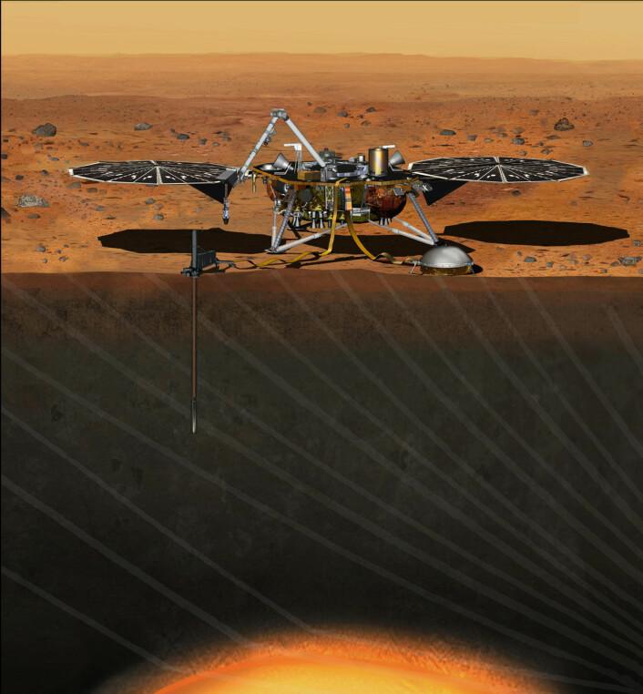 Illustrasjon av InSight på overflaten av Mars. Romsonden skal karlegge undergrunnen med to instrumenter. Et seismometer vil registrere ekko av fjerne mars-skjelv. En probe skal også bores tre til fem meter ned i bakken, og vil måle varmegjennomstrømningen. (Foto: (Illustrasjon: NASA/JPL-Caltech))