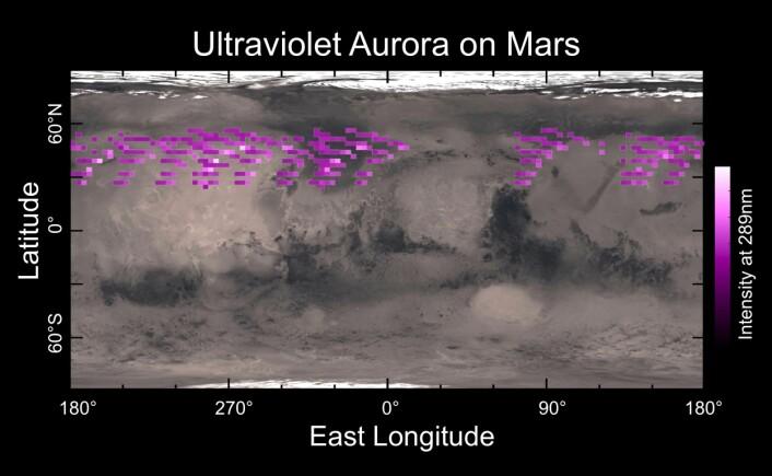 Et kart over hvor MAVENs ultrafiolette spektrograf har observert polarlys på Mars i desember 2014, i en periode på fem jorddøgn. (Foto: (Bilde: University of Colorado))