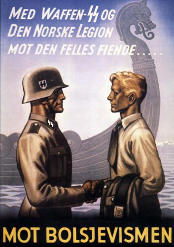 Propagandaplakat som ble lagd for å verve norsk ungdom til tjeneste på Østfronten.  (Foto: (Illustrasjon: Akg-images))