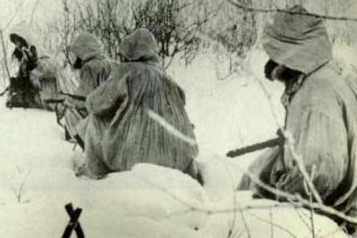 Norske frontkjempere ved Leningrad-fronten.  (Foto: Fra Kjell Fjørtofts bok «Veien til Østfronten»)