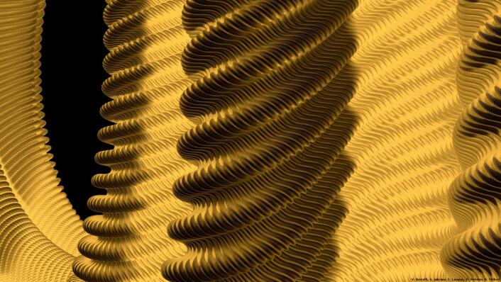 """Geometrien til Nash og Nirenberg visualisert: Først i 2012 var datamaskinene kraftige nok til at forskere i Projet Hévéa kunne klare å visualisere hvordan en flate kan krummes uten at flatemålene fordreies. (Foto: Bilde: Projet Hévéa, <a href=""""http://creativecommons.org/licenses/by-sa/2.0/fr/"""">Creative Commons</a>.))"""