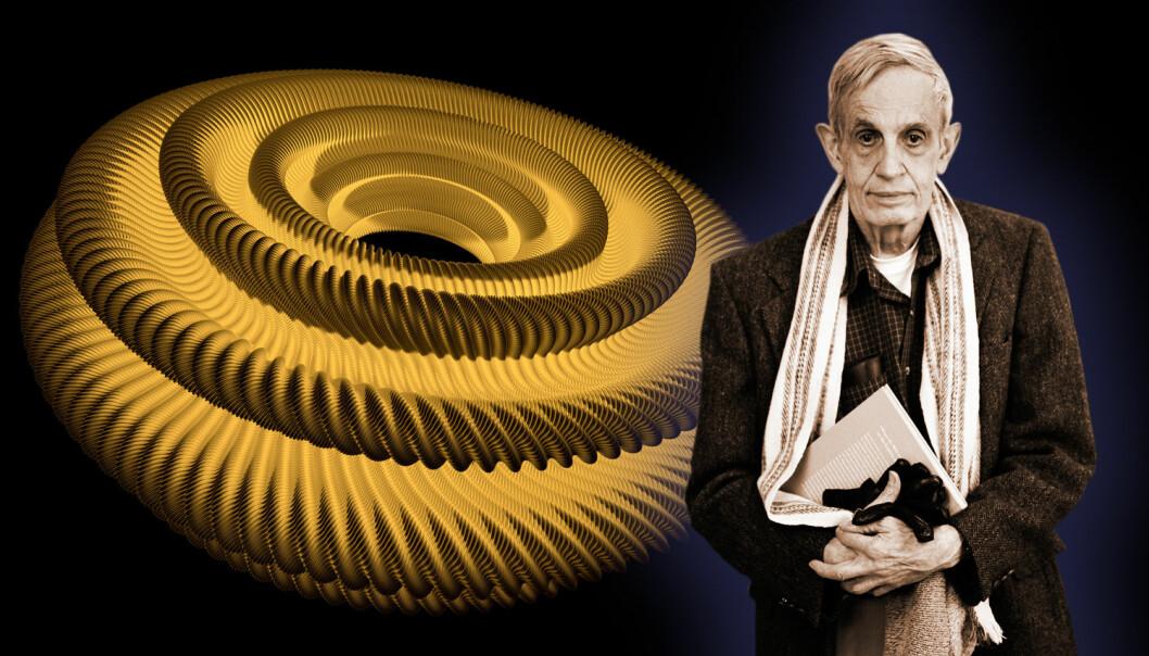 """Hvordan krumme en flate til en smultring uten å krumme den? Først i 2012 kunne datamaskiner simulere og vise fram svaret, 58 år etter at John Nash hadde sett det for sitt indre øye.  (Bilde: Montasje, laget av forskning.no. Smultringen:  Projet Hévéa. John Nash: Peter Badge/Typos1, begge <a href=""""http://creativecommons.org/licenses/by-sa/3.0/deed.en"""">Creative Commons</a>.)"""