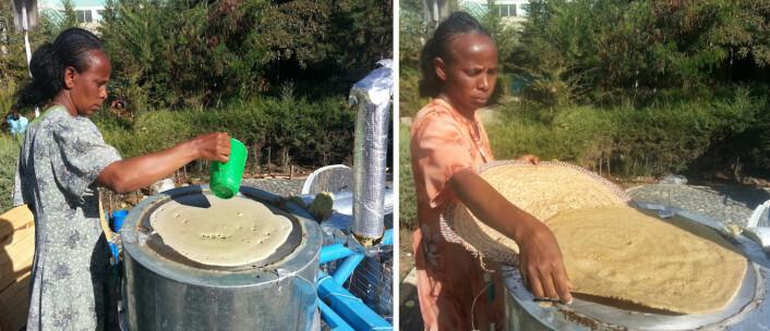 Baking av injera på solovn med varmelagring. (Foto: Asfafaw Tesfay, Ethiopia Institute of Technology Mekelle)