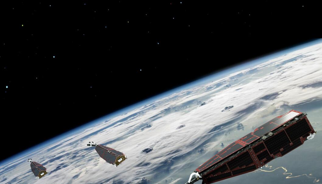 De tre SWARM-satellittene skal, som en del av ESAs «Living Planet Programme», måle jordens magnetfelt.  (Foto: ESA/AOES Medialab)