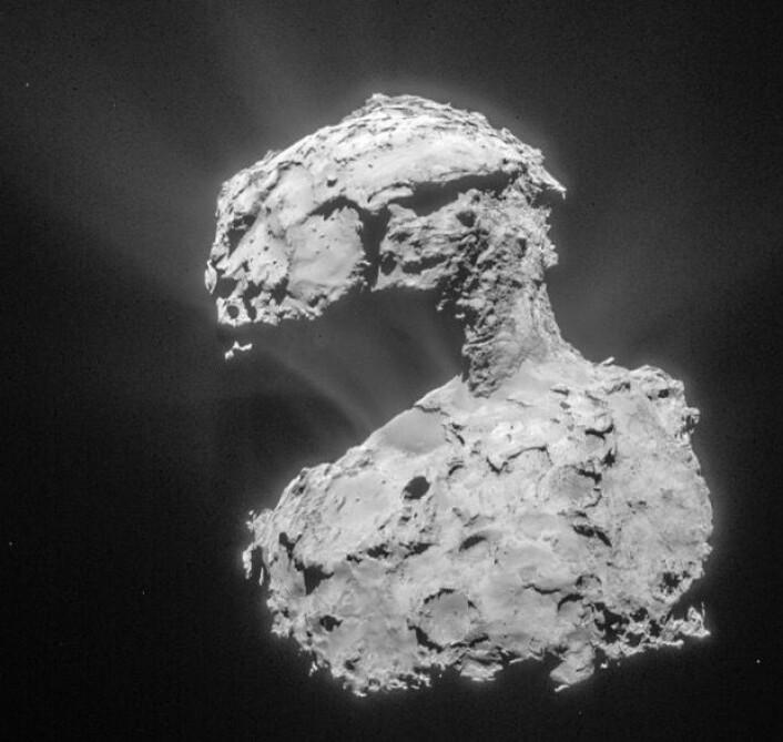 Komet 67P Churyumov-Gerasimenko sett fra Rosetta 14. mars 2015. (Bilde: ESA/Rosetta/NAVCAM)