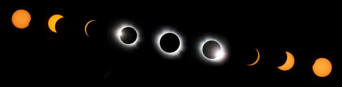Den totalte solformørkelsen gjennom ni faser sett fra Longyearbyen. (Foto: Håkon Mosvold Larsen, NTB Scanpix)