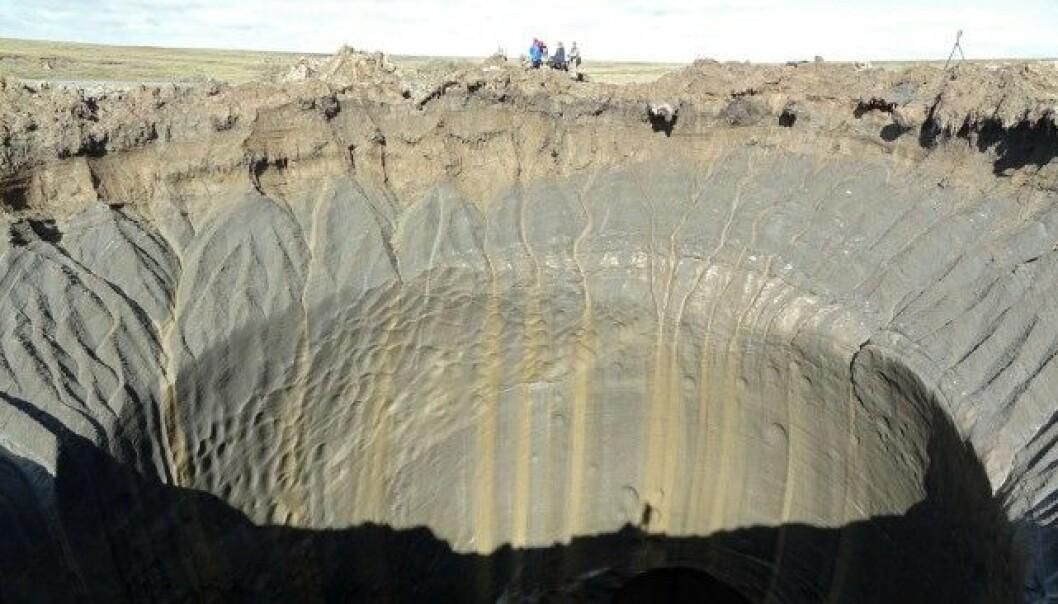 Dette krateret er eitt av sju hol i bakken som nyleg er oppdaga i Russland. (FOTO: VASILY BOGOYAVLENSKY / NTB SCANPIX)