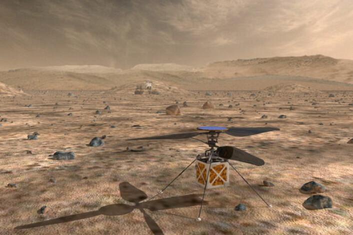 NASA utvikler et robothelikopter som kan speide over terrenget der framtidige ubemannede marskjøretøy skal navigere. (Foto: (Illustrasjon: NASA/JPL))