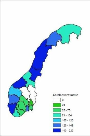 Oversikt over oversvømte nettstasjoner fordelt på fylke i år 2100. (Foto: (Figur:CMRo/NVE, basert på tall fra Bjerknessenteret))