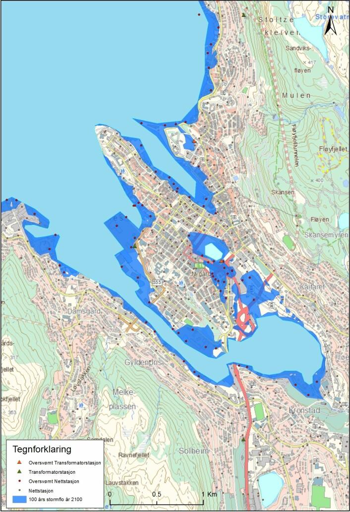 Oversikt over utsatte installasjoner i Bergen sentrum. (Foto: (Figur:CMRo/NVE, basert på tall fra Bjerknessenteret))