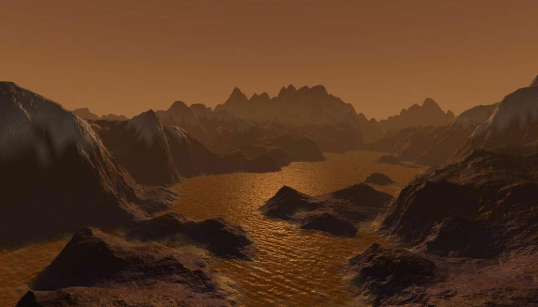 Saturns oransje måne, Titan, har en overflate av is og stein og hav fylt av flytende metan. Slik kan det se ut, ifølge en australsk tegner.  (Illustrasjon: Steven Hobbs / NASA)