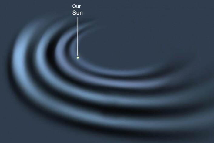 Tettheten av lys som er oppdaget i Melkeveien, avslører at galaksen har en annen form, noe som gjør at forskerne mener den er 50 prosent større enn først antatt. (Foto: (Illustrasjon: Rensselaer Polytechnic Institute))