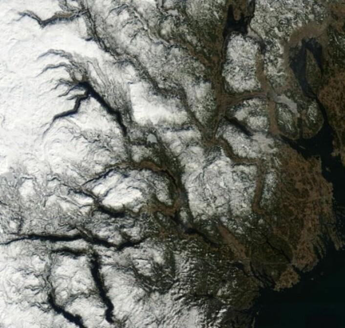 Telemark og Vestfold sett fra NASAs satellitt Terra fredag 13. mars. (NASA Terra MODIS)