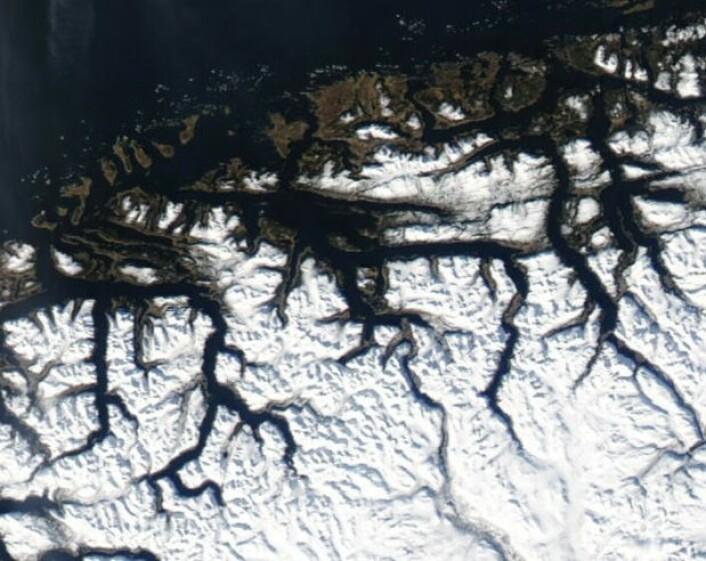 Flott vårvær i Møre og Romsdal torsdag 12. mars. (Bilde: NASA Aqua MODIS)