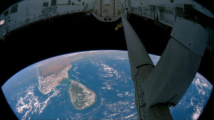 Sri Lanka sett fra romfergen. (Foto: NASA)