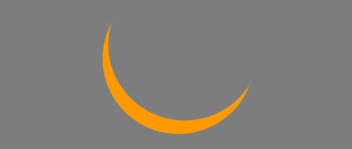 Skjematisk fremstilling av hvor mye av sola som vil være dekket av månen under solformørkelsen 20. mars, sett fra Sør-Norge. (Foto: (Illustrasjon: HBV))