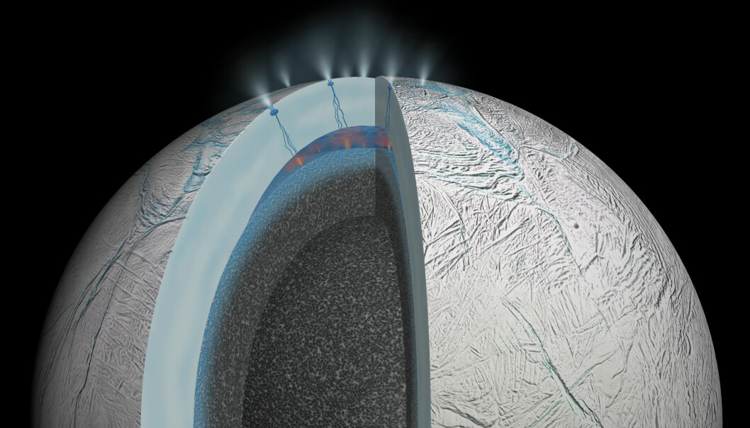 Havet under isen på Enceladus, slik en kunstner ser det for seg. Isen er mellom 40 og 50 kilometer tykk. (Illustrasjon: NASA/JPL-Caltech)