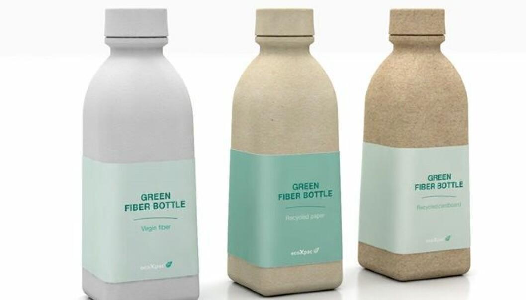Slik ser de nye papirølflaskene ut så langt. Den største utfordringen nå er å masseprodusere dem.  (Foto: DTU)