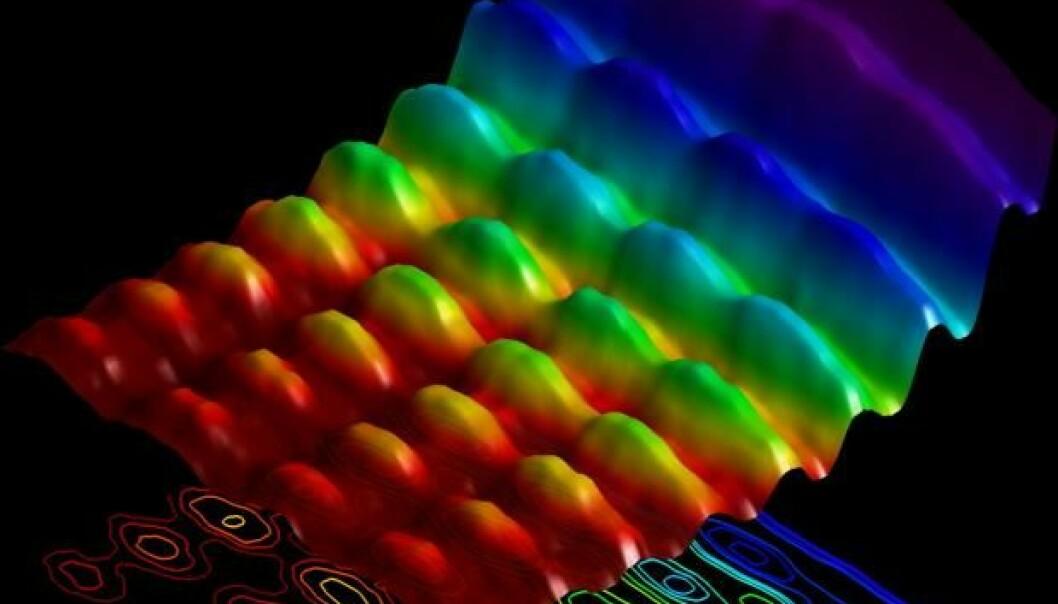 Her ser vi et snapshot av lys som oppfører seg som både bølger og partikler. Det er første gang forskere har klart å fange lysets paradoksale natur på et fotografi.  (Foto: École Polytechnique Fédérale de Lausanne)