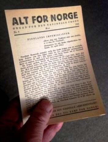 Undergrunnsavisen «Alt for Norge» ble utgitt av sentralkomiteen i Norges kommunistiske parti (NKP) i 1944 og 1945. Den utkom i 1944 hver 14. dag. Opplaget var mellom 10 000 og 30 000 eksemplarer. Men de illegale avisene sirkulerte mellom folk, så kanskje var det så mange som 100 000 som på det meste leste den.  (Foto: Wikimedia Commons)