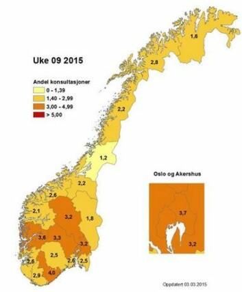 Dette kartet viser hvor stor andel av legebesøkene som skyldes influensasymptomer. I uke ni var flest rammet i Aust Agder, Oslo, Hordaland, Buskerud, Oppland og Akershus, hvor mellom tre og fem prosent av pasientene slet med influensa. (Foto: (Grafikk: FHI))
