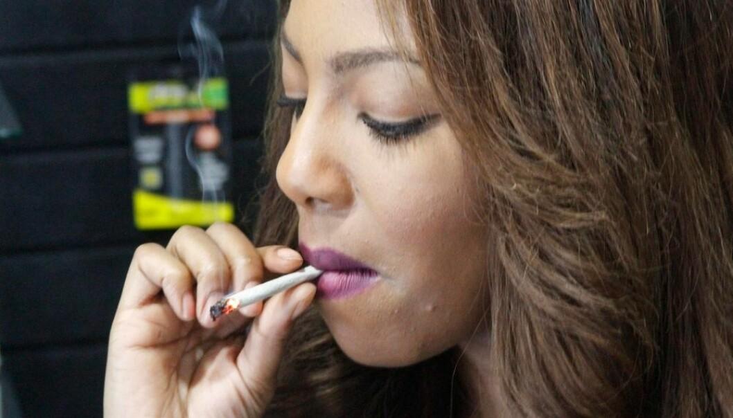 Lederen av cannabis-klubben i Alaska, Charlo Greene, røyker en joint i forbindelse med at delstaten i februar i år liberaliserte cannabis. Dette er den tredje amerikanske staten i USA som liberaliserer stoffet helt. Liberaliseringen preger holdningen til unge, velutdannede amerikanere.  (Foto: Mark Thiessen, AP)