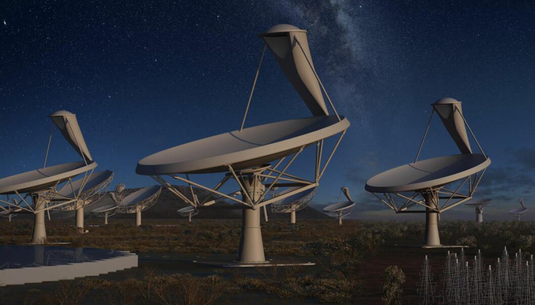 En skog av parabolantenner i halvørkenen Karoo i Sør-Afrika utgjør deler av kjempeteleskopet Square Kilometre Array. Når det står ferdig i 2024, vil det bli 50 ganger mer følsomt og 10 000 ganger raskere enn dagens radioteleskoper. (Illustrasjon: SKA Organisation/Swinburne Astronomy Productions)