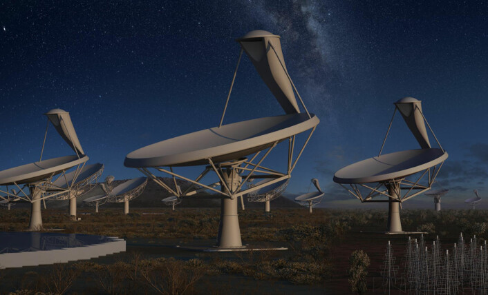 En skog av parabolantenner i halvørkenen Karoo i Sør-Afrika utgjør deler av kjempeteleskopet Square Kilometre Array. Når det står ferdig i 2024, vil det bli 50 ganger mer følsomt og 10 000 ganger raskere enn dagens radioteleskoper. (Foto: (Illustrasjon: SKA Organisation/Swinburne Astronomy Productions))