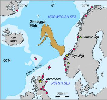 Kartet viser Storegga-raset og effekten av den påfølgende tsunamien. Bølgene inn mot kysten på Vestlandet var opp mot ti og elleve meter høye.  (Foto: (Illustrasjon: HiSF))