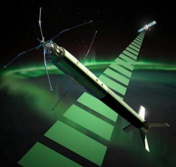 ICI-4-raketten er 10 meter lang. Den har 140 kg nyttelast og 7 vitenskapelige instrumenter ombord. Maks flyhøyde er 350 kilometer.  (Foto: (Illustrasjon: Trond Abrahamsen, Andøya Space Center))