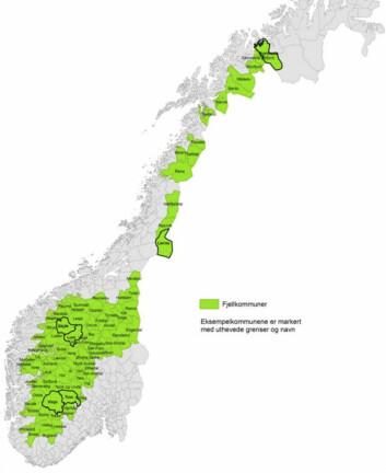 Fjellkommunene dekker 40 prosent av Norges areal. Det er her mest av landet er vernet. (Foto: (Illustrasjon: Kart fra forskningsprosjektet))