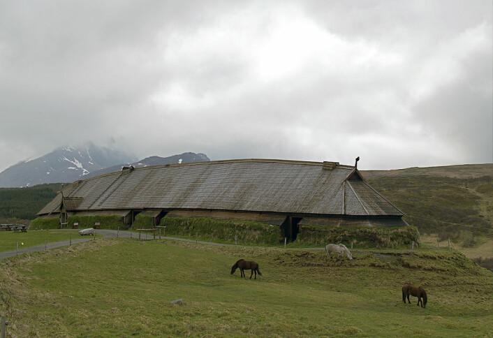 Høvdingsetet på Borg i Lofoten er den største, kjende høvdinggarden ein kjenner til. I dag held Vikingmuseet Lofotr til i ein rekonstruksjon av garden. (Foto: Jörg Hempel/Wikimedia Commons)