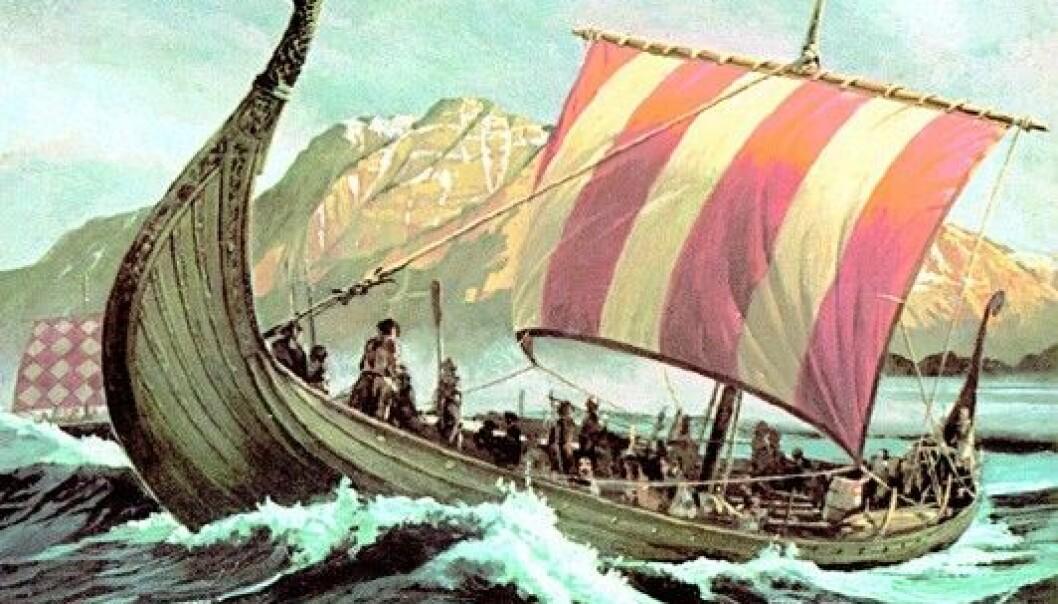 Utan segl på skipa hadde ikkje vikingane kome seg av flekken. Medan mennene som bygde skipa har sine namn i historiebøkene, er ikkje kvinnene som laga segla til skipa nemnt med eit ord.  (Illustrasjon: Wikimedia Commons)