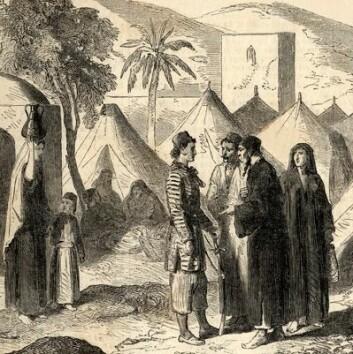 Kristne i Libanon, tegnet rundt 1860, på samme tid som bibelen til Smith, Bustani og Van Dyck ble en salgssuksess.  (Foto: (Kilde: Ukjent kunstner/Wikimedia Commons. Bildet er offentlig eiendom))