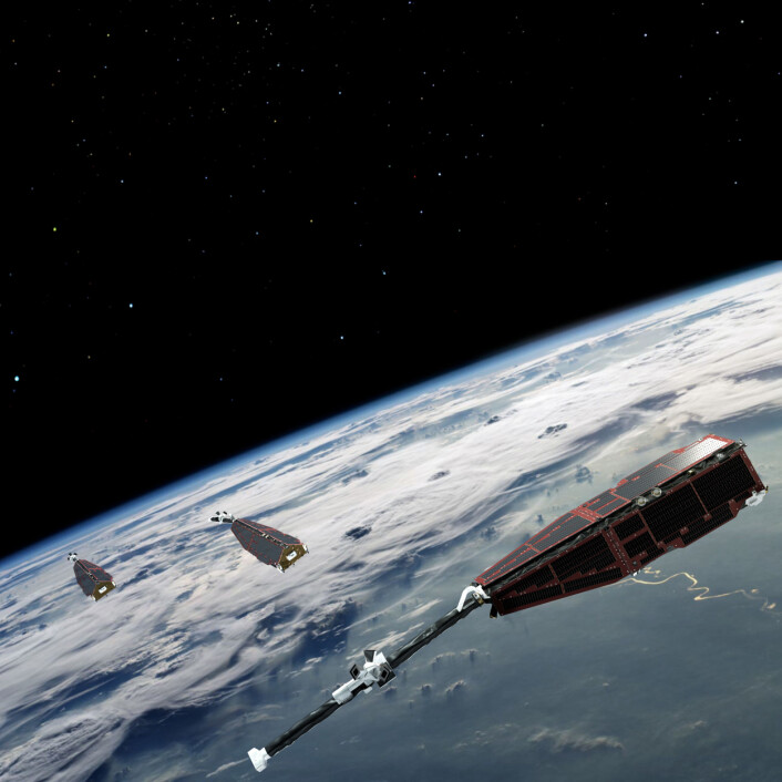 Swarm-satellittene undersøker jordas magnetfelt og planetens indre og flyr i ulike baner. (Foto: ESA)