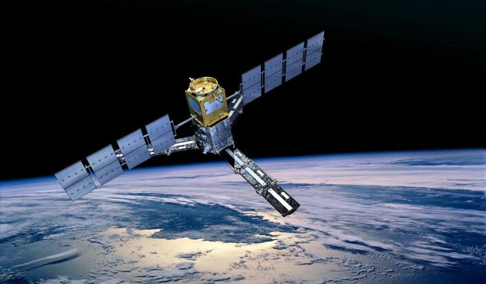 ESAs satellitt SMOS måler saltholdigheten i havet og fuktigheten i jorda på land for å finne mer ut om jordas vannsyklus og havsirkulasjon.  (Foto: ESA)