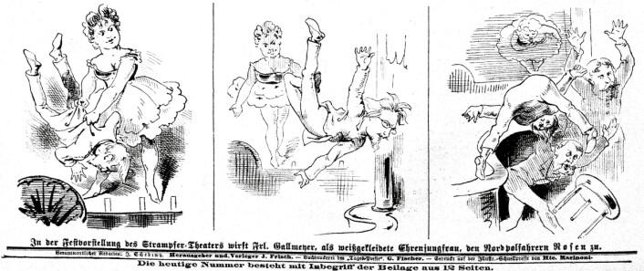 """På denne vitsetegningen kaster en muskuløs Josefine Gallmeyer """"roser"""" (dvs. hennes meddirektør Julius Rosen) til polfarerne Karl Weyprecht og Julius Payer. Fra Der Floh, 26.9.1874. Tegner ukjent. Kilde: ANNO / Österreichische Nationalbibliothek."""