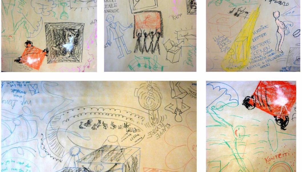 19 studenter fikk i oppgave å tegne hva de tenker og føler om det å gå i operaen, både før og etter en ballettoppvisning. Her er noen av resultatene etter besøket.  (Illustrasjon: HiOA)