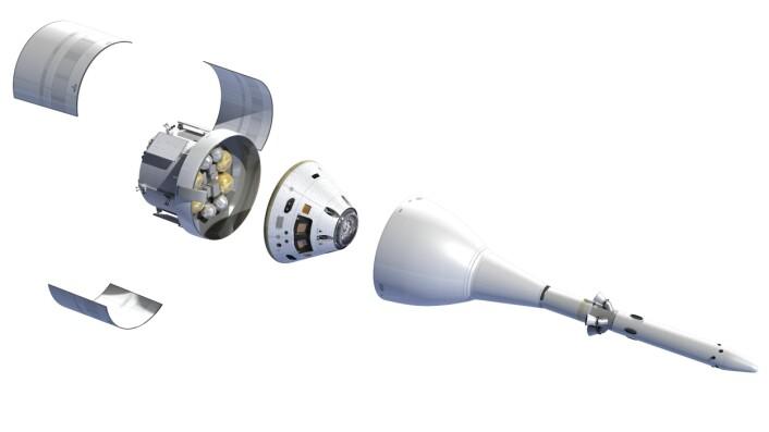 Orion, NASAs nye romfartøy, med den europeiske service-modulen sittende under kapselen hvor astronautene skal være. Orion skal frakte astronauter til månen, til en asteroide, og lenger ut i solsystemet. (Foto: ESA/D. Ducros)