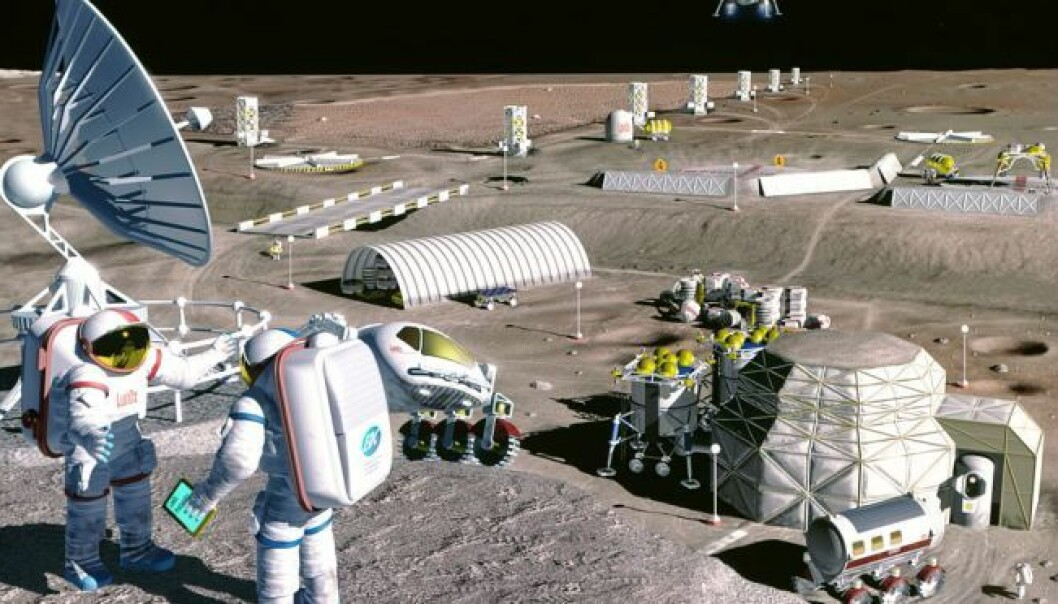 Hvordan vil kolonier i rommet se ut? I 1995 laget tegneren Pat Rawlings denne illustrasjonen for NASA for å visualisere en mulig fremtid med kolonier på månen.  (Grafikk: NASA/SAIC/Pat Rawlings)