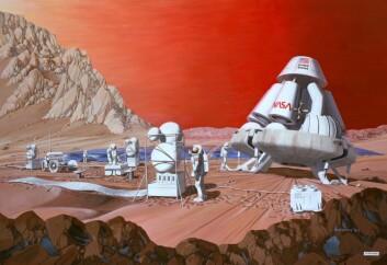 Vi må imidlertid først undersøke om planeten har alle de råstoffene man trenger for å bygge byer. Det er nemlig ekstremt dyrt å transportere alle bygningsmaterialer fra jorden.  (Foto: (Tegning: Les Bossinas of NASA Lewis Research Center))