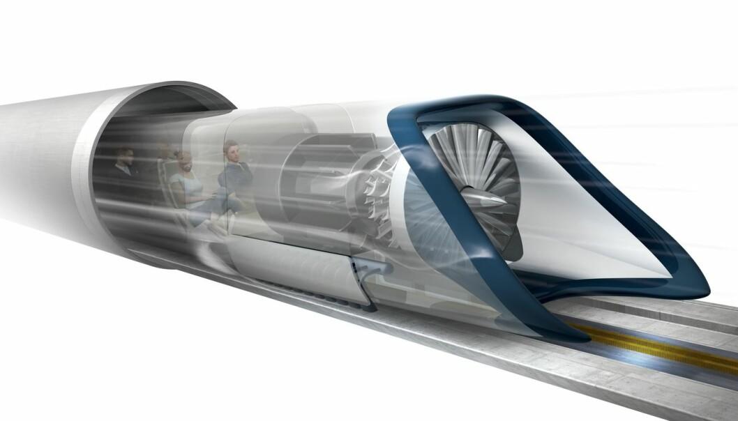 Hyperloop, slik Elon Musk og SpaceX ser det for seg. Dette konseptet er hovedsakelig for persontransport, men andre selskaper har foreslått større fraktvarianter av Hyperloop. (Foto: Science photo library)