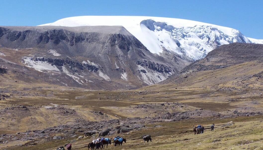 Quelccaya-isen i Peru, hvor iskjernen ble hentet ut fra. (Foto: Paolo Gabrielli, The Ohio State University)